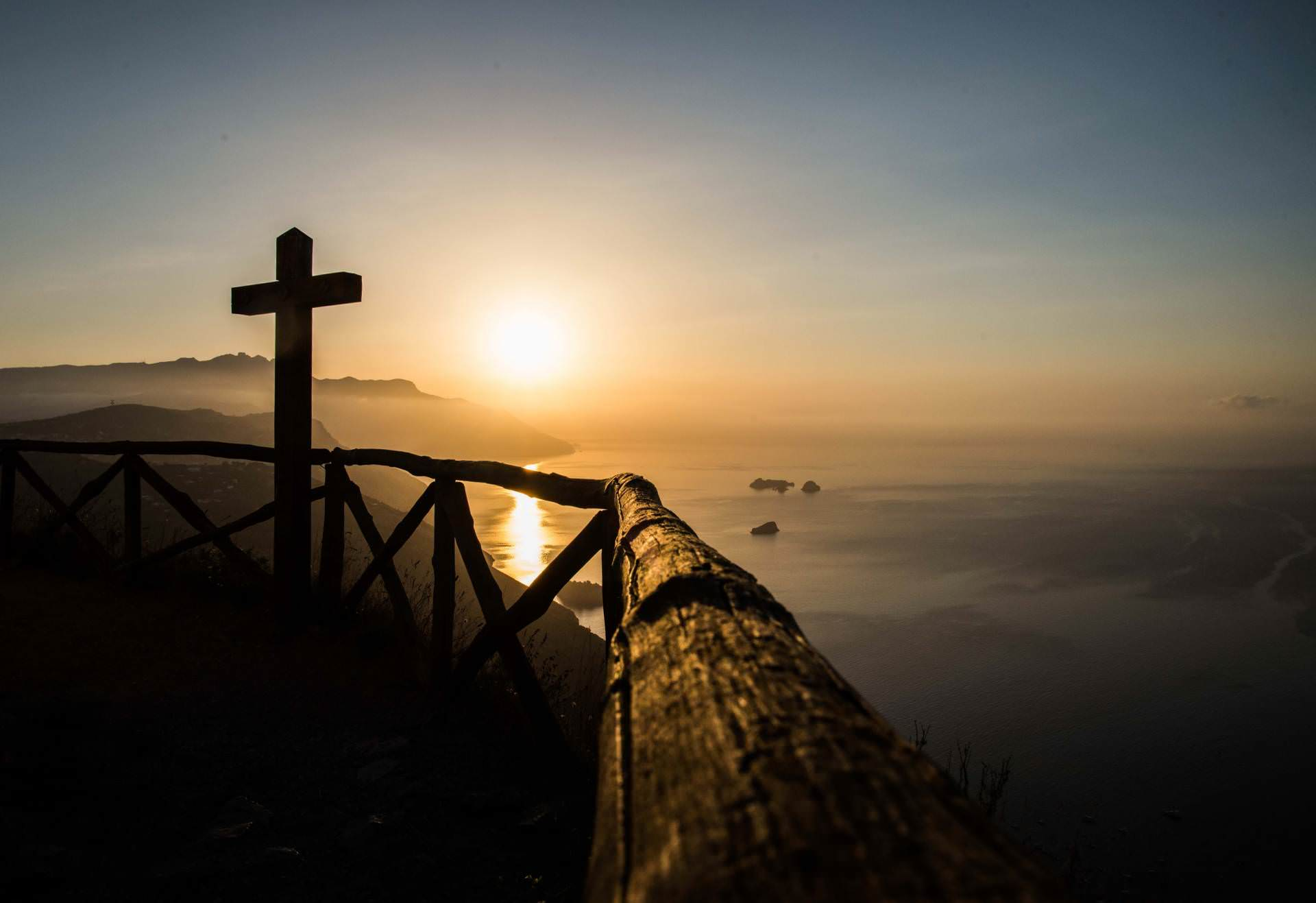 cross, christ, sea, log, sunset, landscape, dawn, ocean, view, sunset