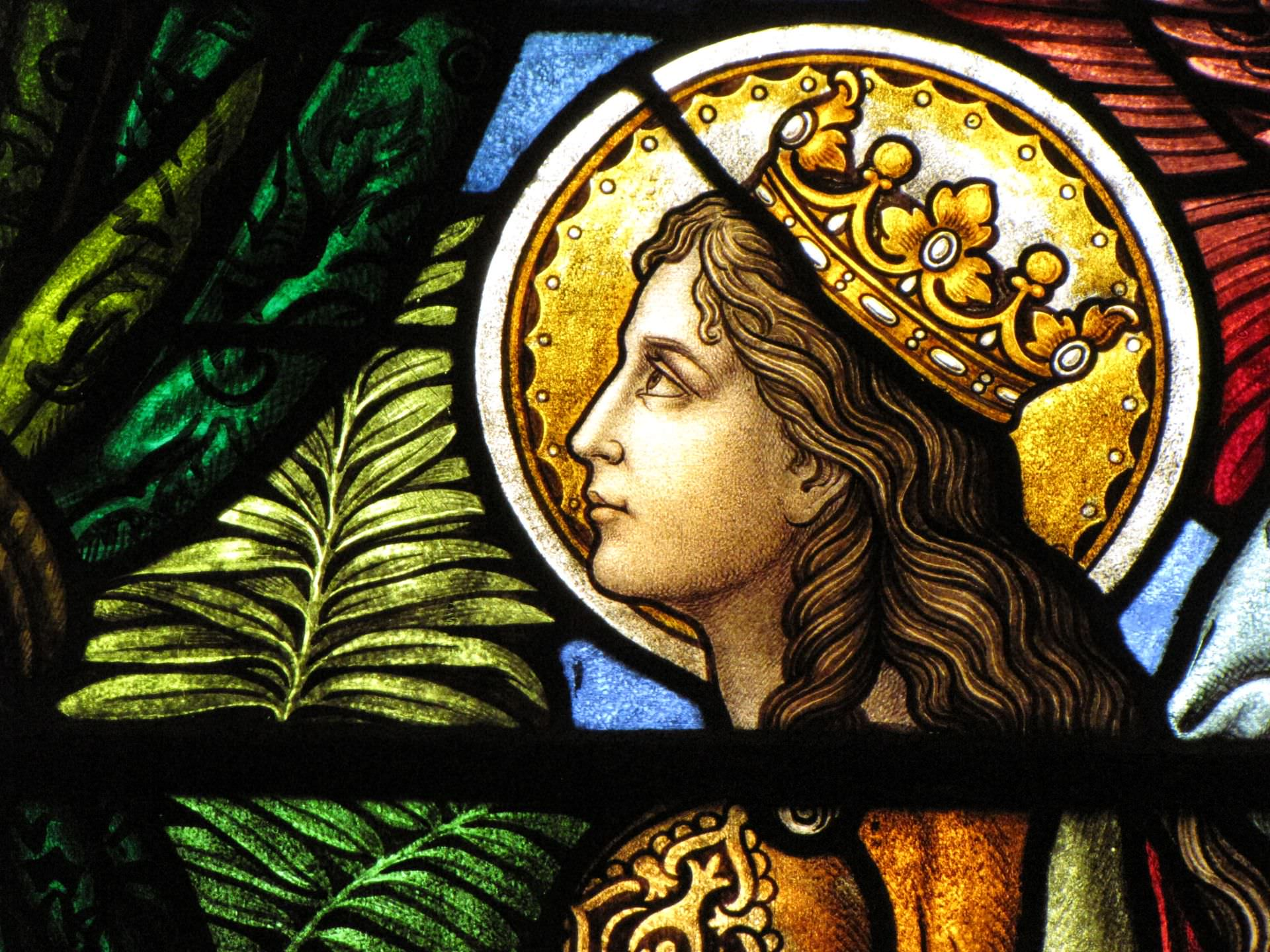 martyr, crown, music, art, stained glass, holiness, sacred, palm, cecilia, stained glass, santa cecilia