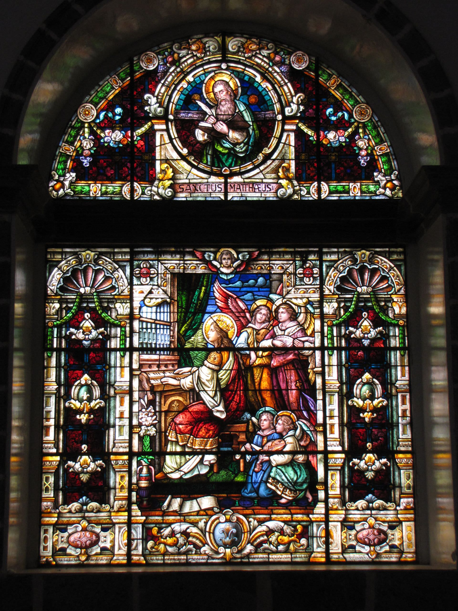 light, organ, music, art, stained glass, angeles, mateo, sacred, evangelist, saints, cecilia, women, holy