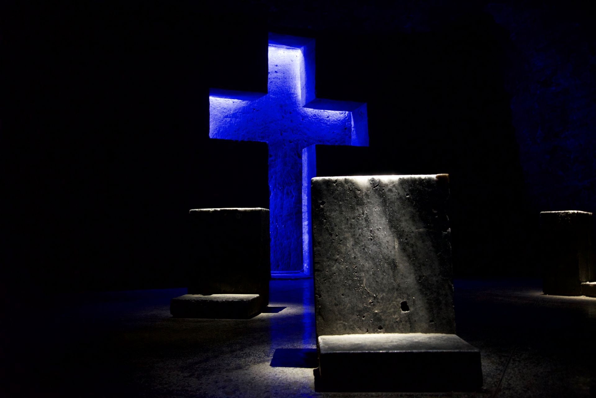 cross, cathedral, will, sign of faith, light, make, beam of light, blue, stone