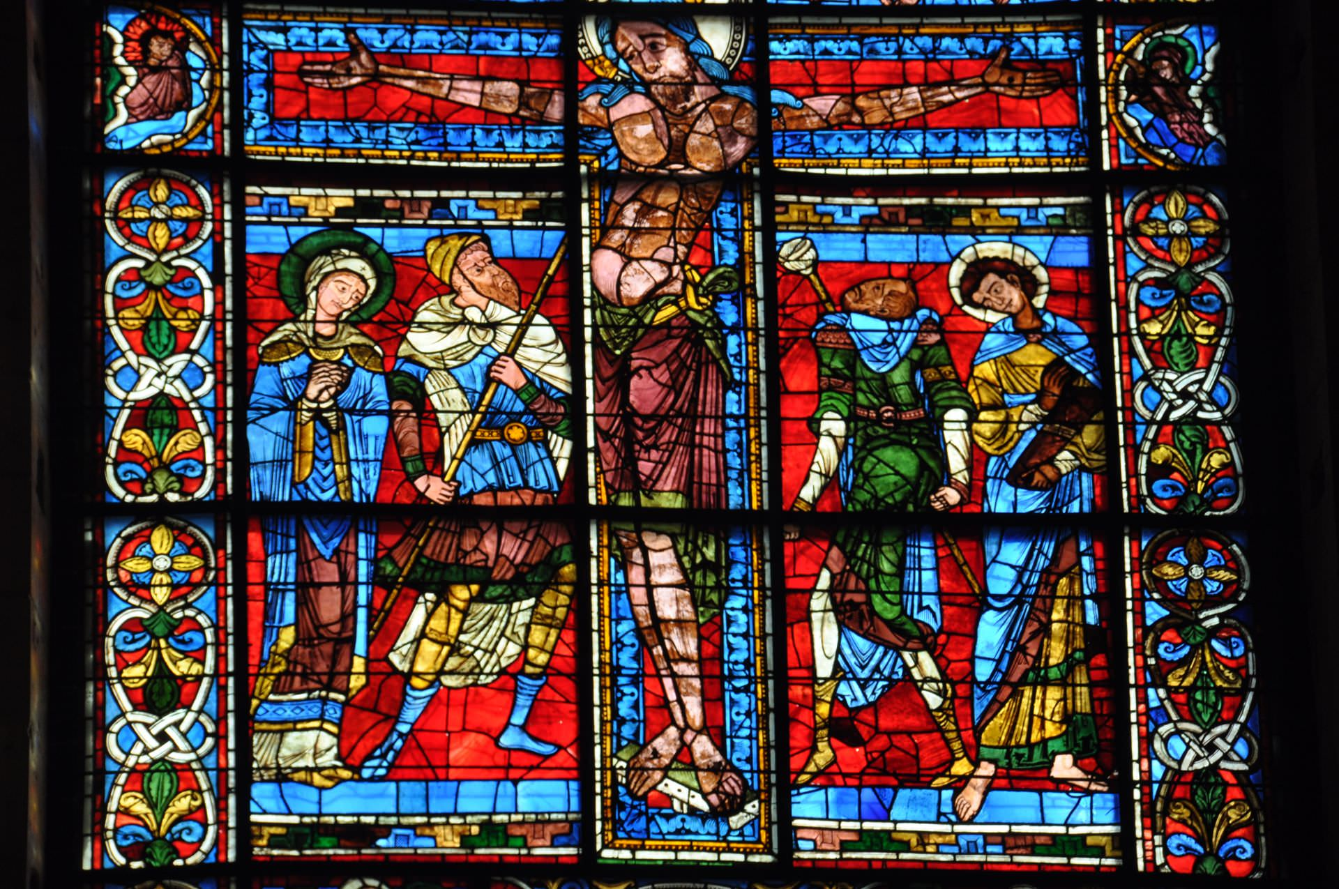 window, stained glass, colors, glass, moment of crucifixion