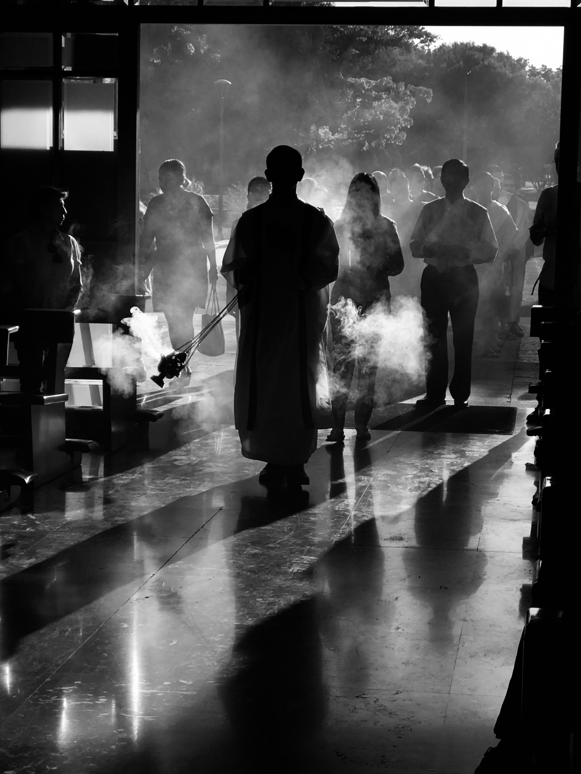 procession, censer, holy thursday, incense, silhouettes, people, entry