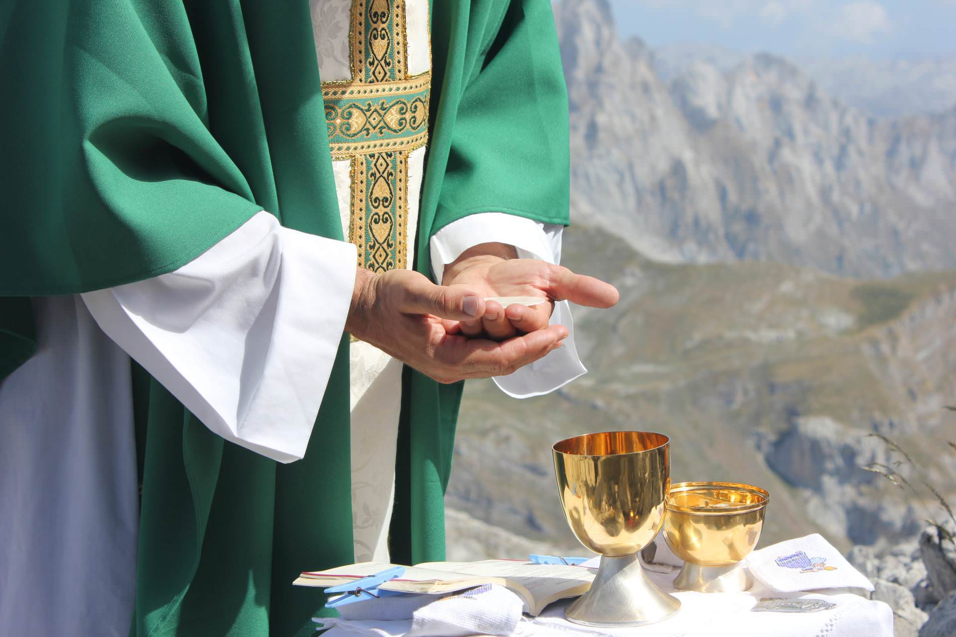 eucharist, mass, visitors, priest, nature, mountains
