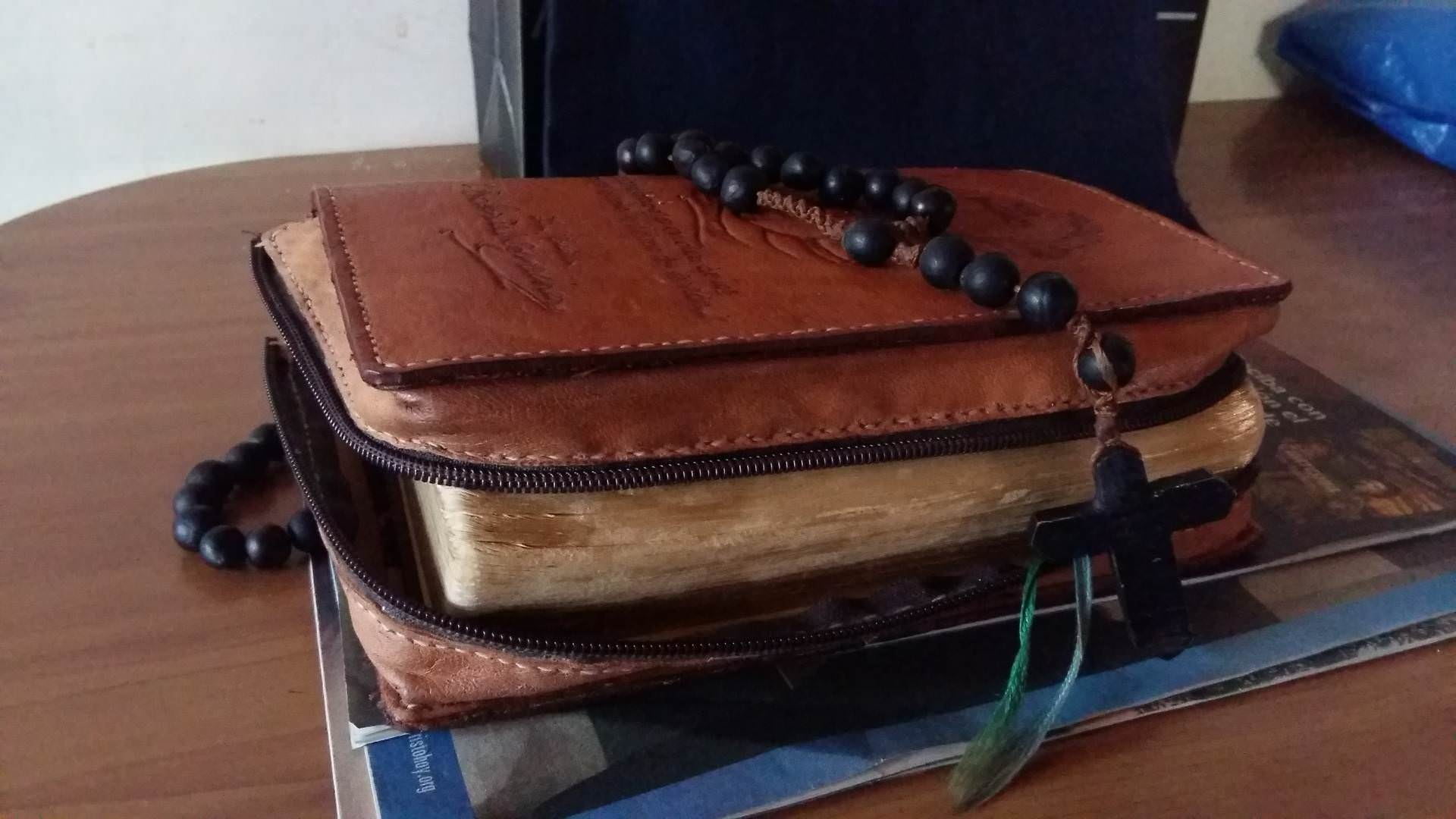 bible, rosary beads, breviary, word of god, table, black rosary