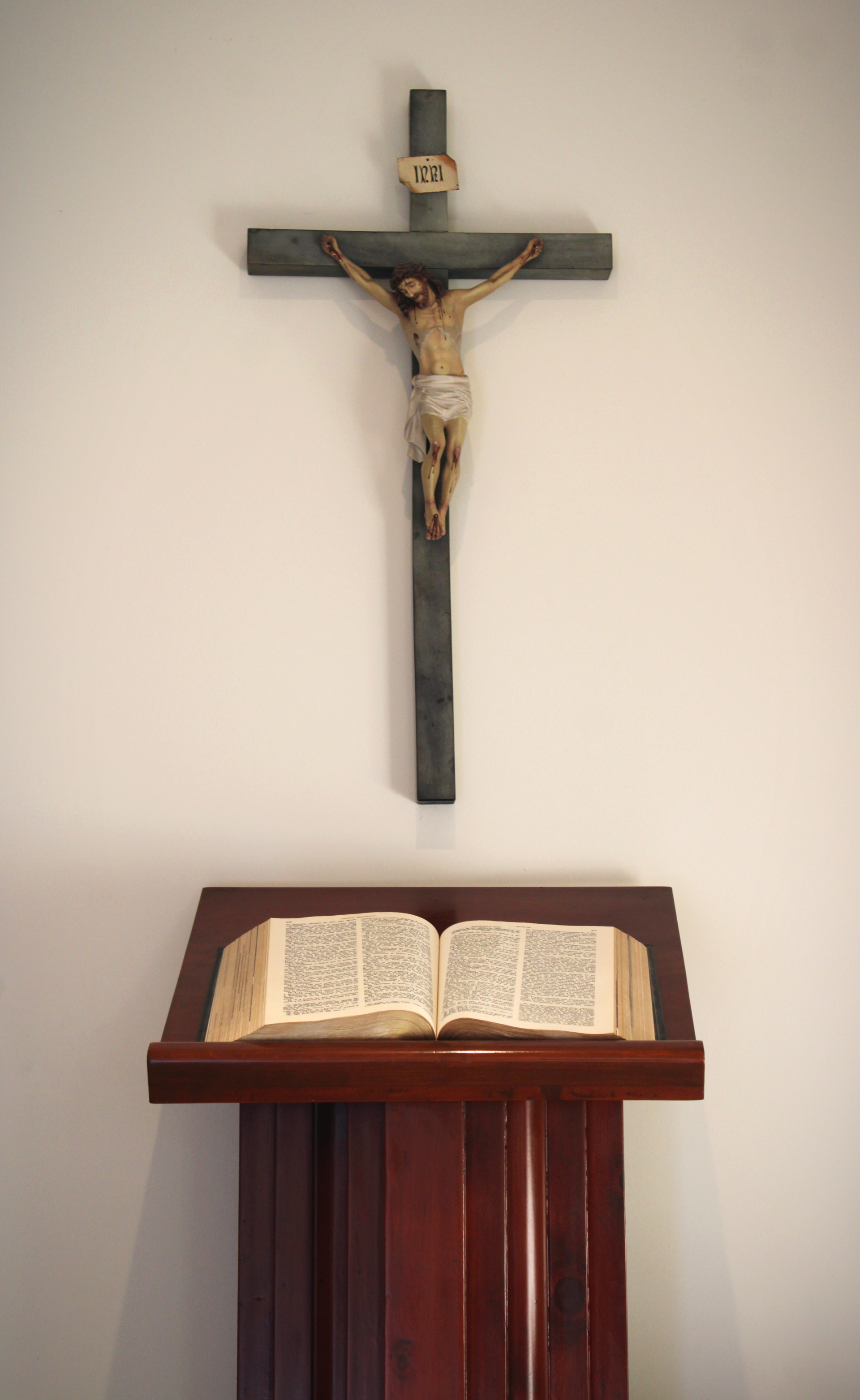 bible, crucifix, lectern, wall