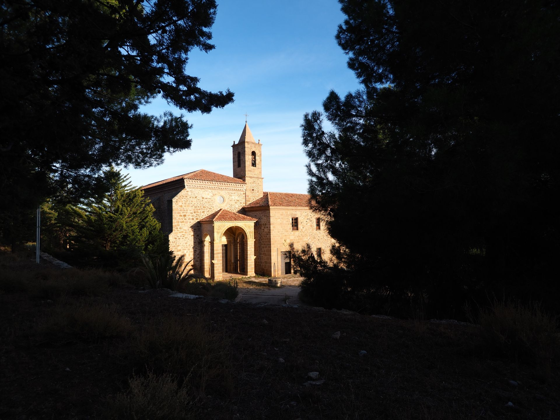 sky, virgin, peace, monastery, temple, sanctuary, olive grove, teruel, tree, house of god, house of prayer, creation
