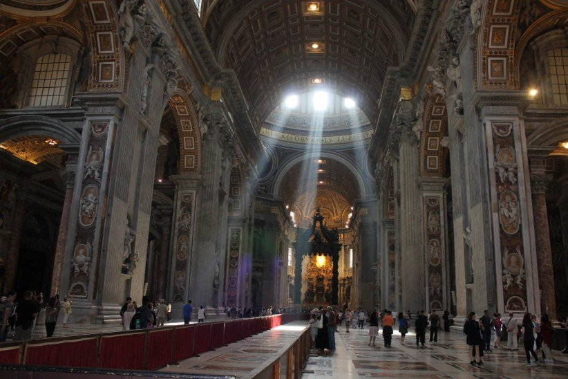 light, church, rome, vatican, temple, art, to illuminate, columns, people, basilica, holy spirit, basilica of saint peter, ghost!, divine promise, dildo, light