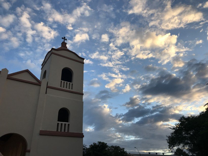 church, sky, dome, bell tower, landscape, peace, view