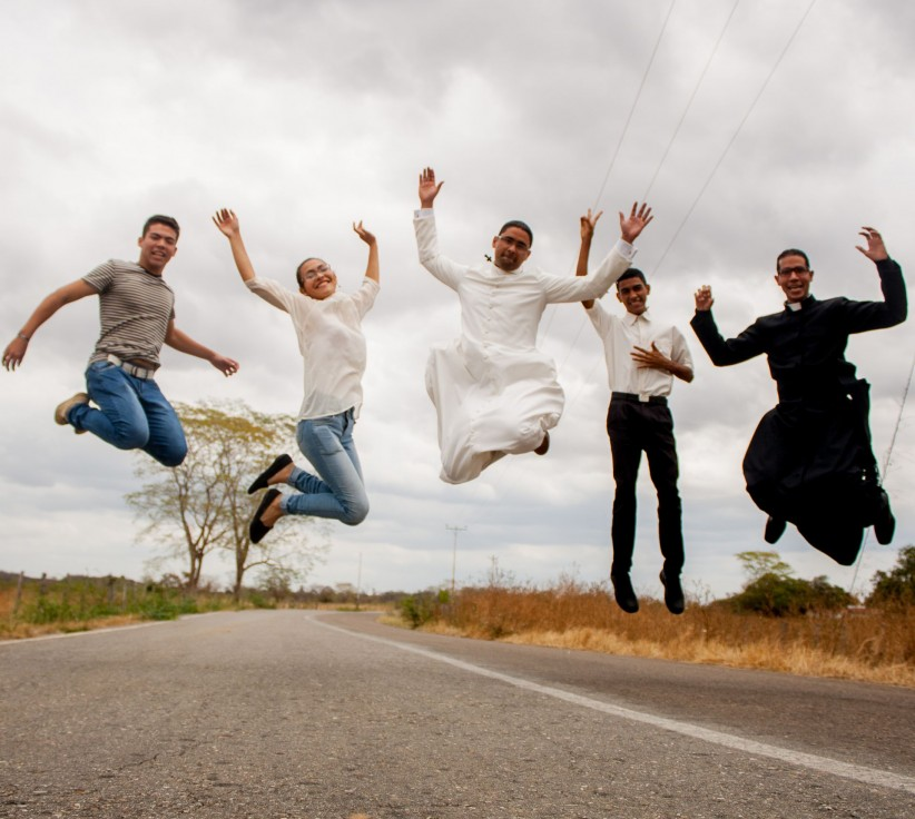 priest, joy, seminarian, missionaries, jump