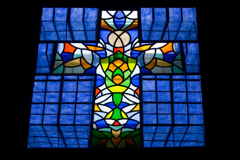 cross, church, stained glass