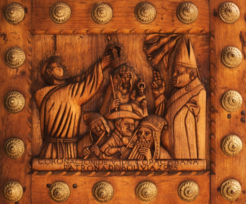 church, wood, virgin, temple, front porch, bolivia, copacabana, details, detail, cut down, house of prayer, house of god