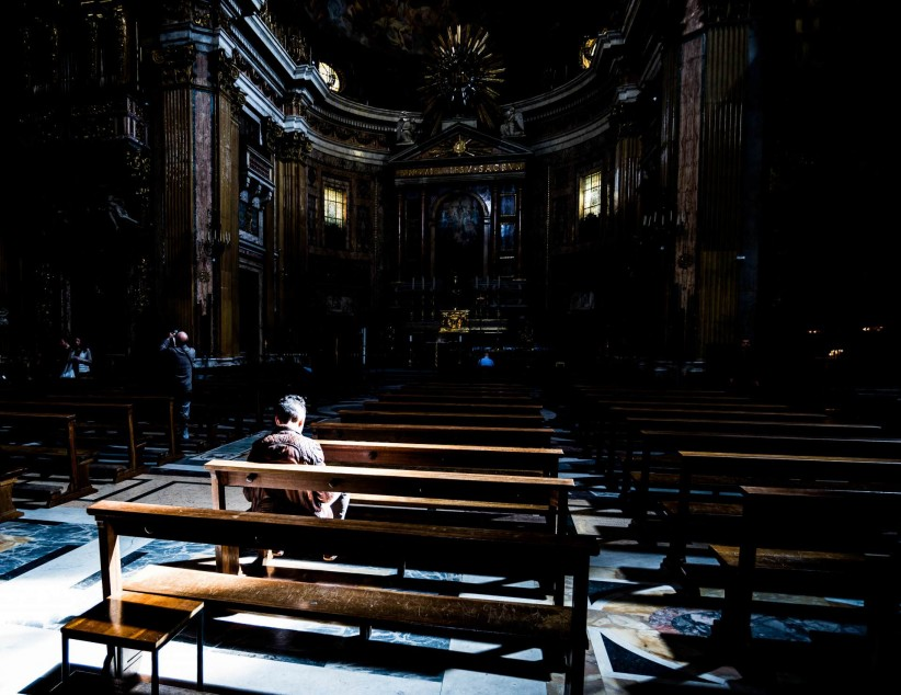 sentence, loneliness, church, person, people, chapel, prayer,  pray,  chapel