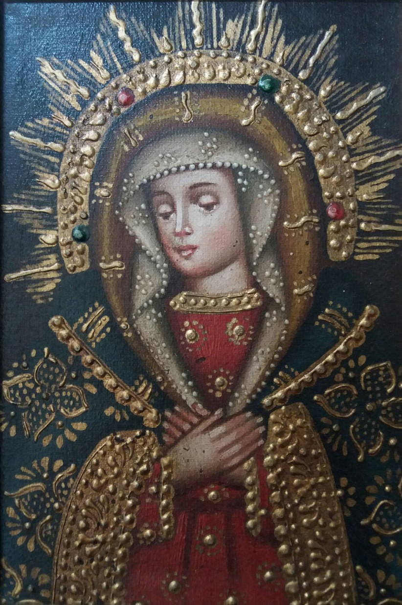 virgin, crown, maria, queen,  colonial,  peru, oil