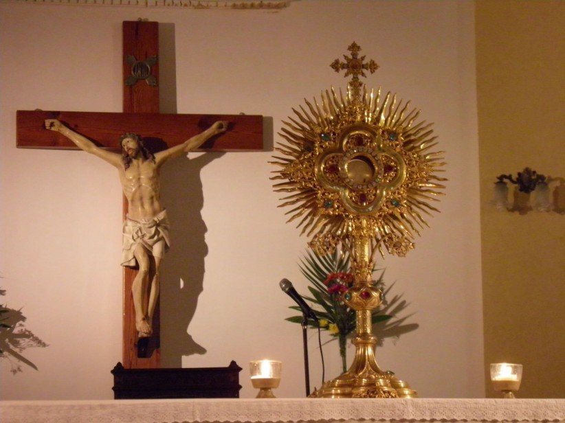 santisimo, cross, christ, jesus, custody, santa, mass, to worship