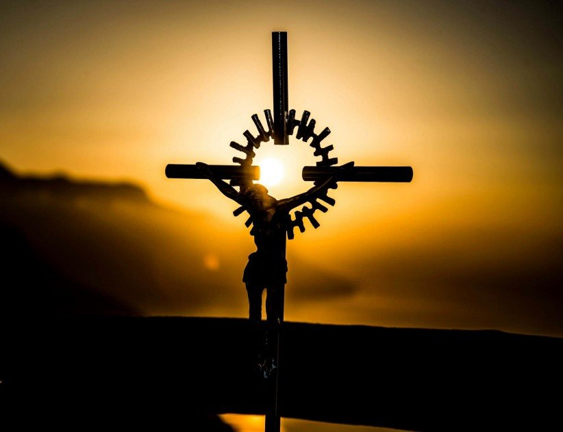cross, christ, god,  sunset