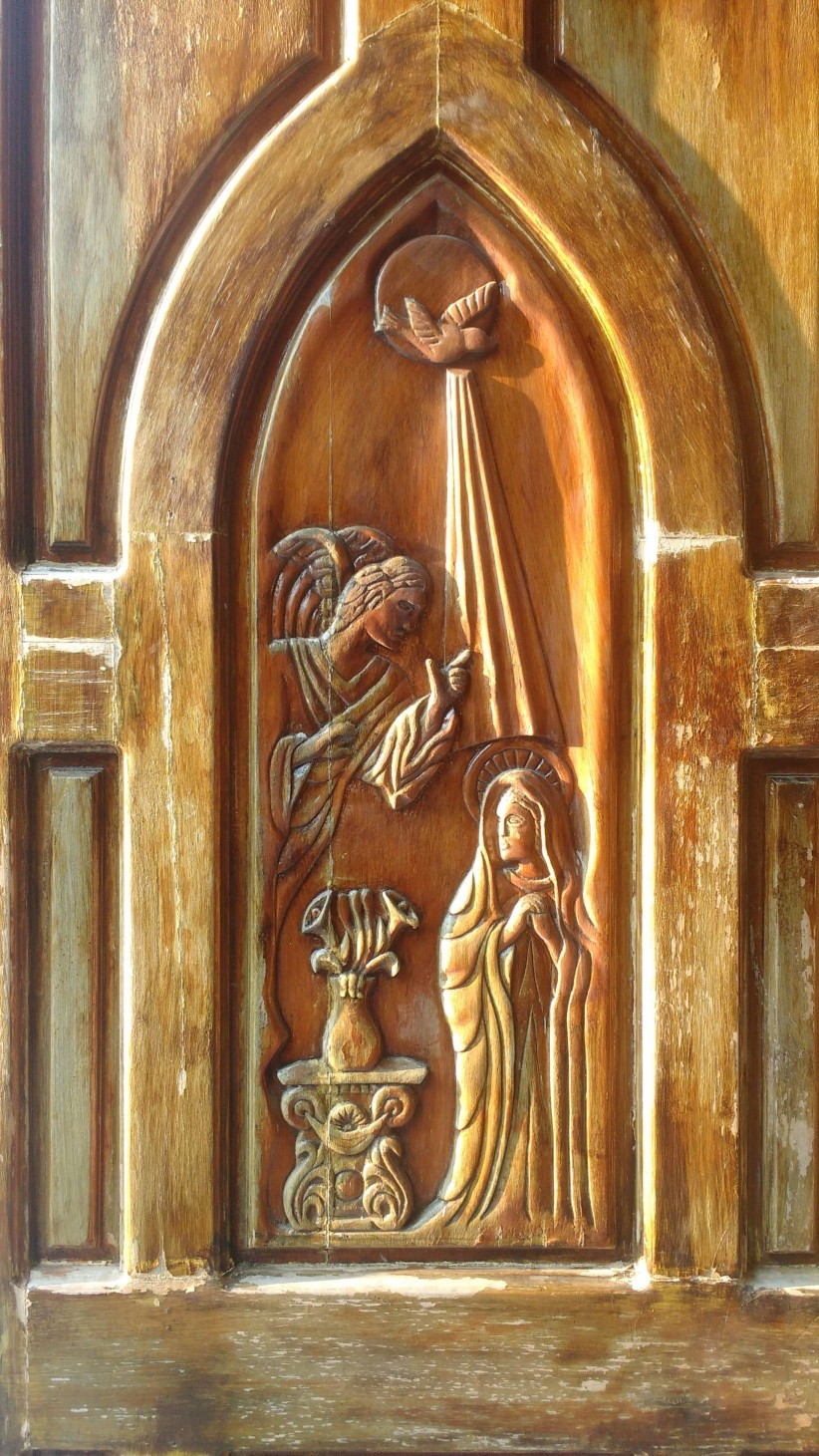 virgin mary, archangel gabriel, the announcement, ad, angel, fiat, encarnacion, annunciation, holy spirit, door, temple