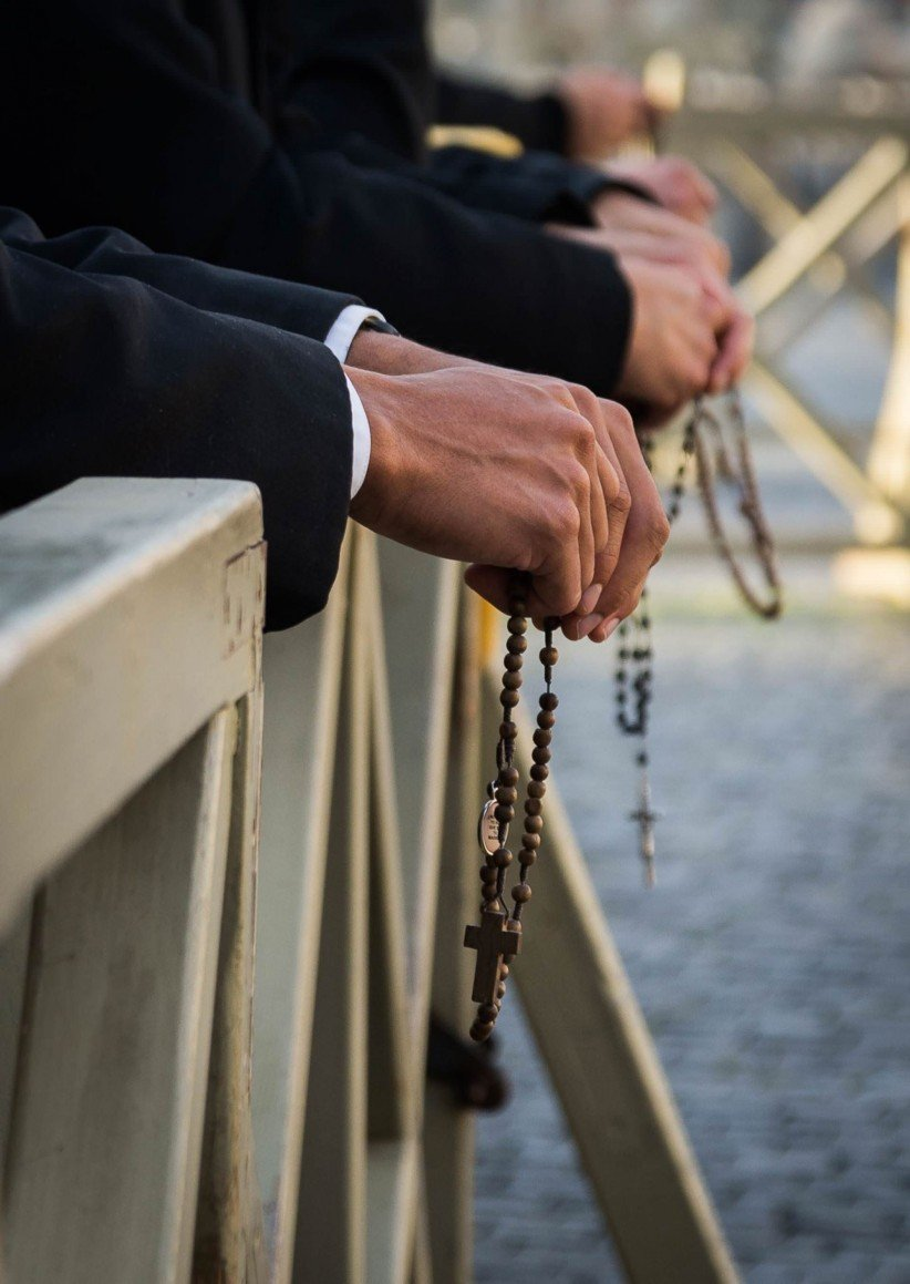 hands, rosary beads, maria, sentence, virgin mary,  pray
