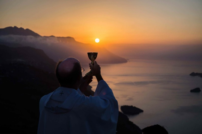 priest, wine, blood of christ, mass, sun, sunset, care, chalice, presbyter