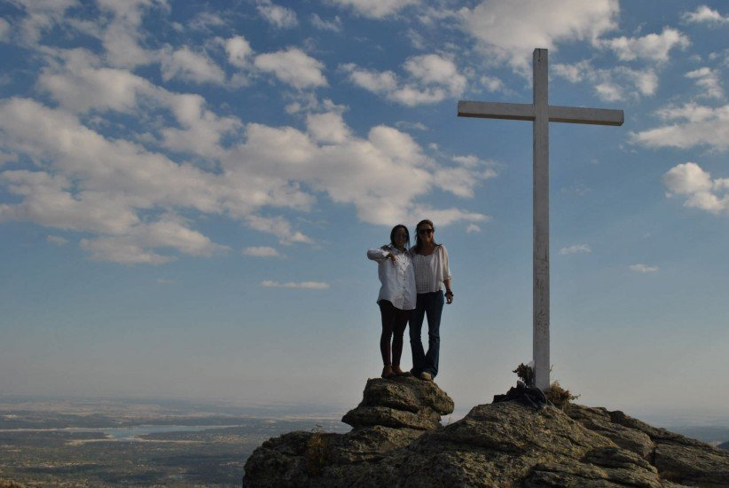 cross, sky, clouds, young boys, joy, holiness, friendship, mountain