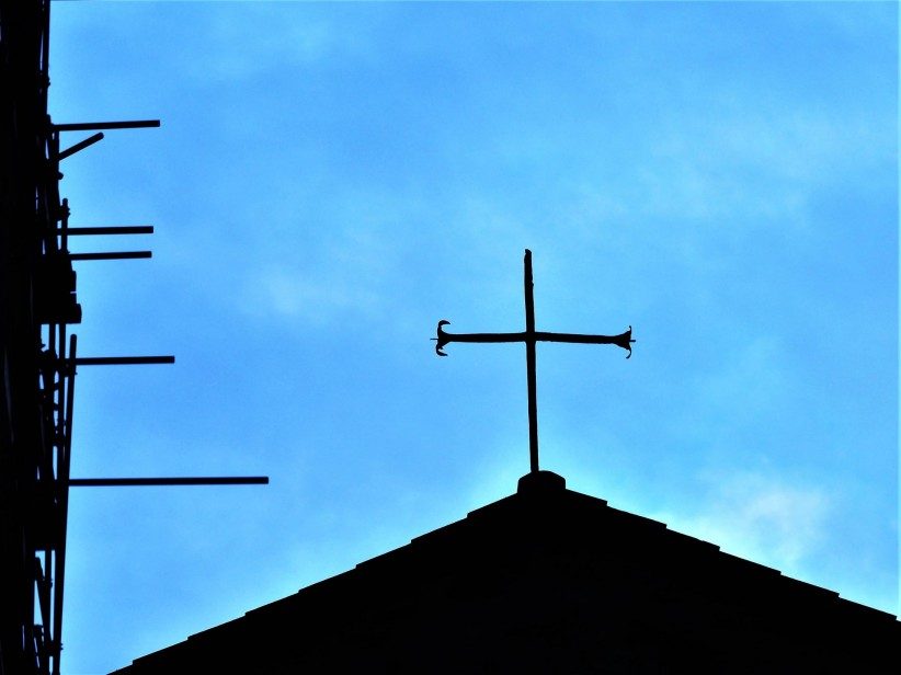 church, cross, sky, italy, minimal, patio, roof, liguria