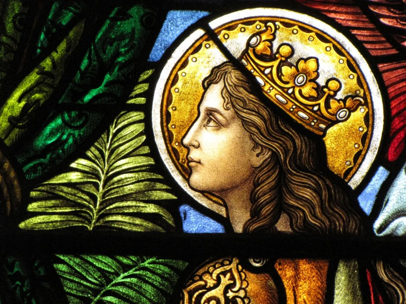 martyr, crown, music, art, stained glass, holiness, sacred, palm