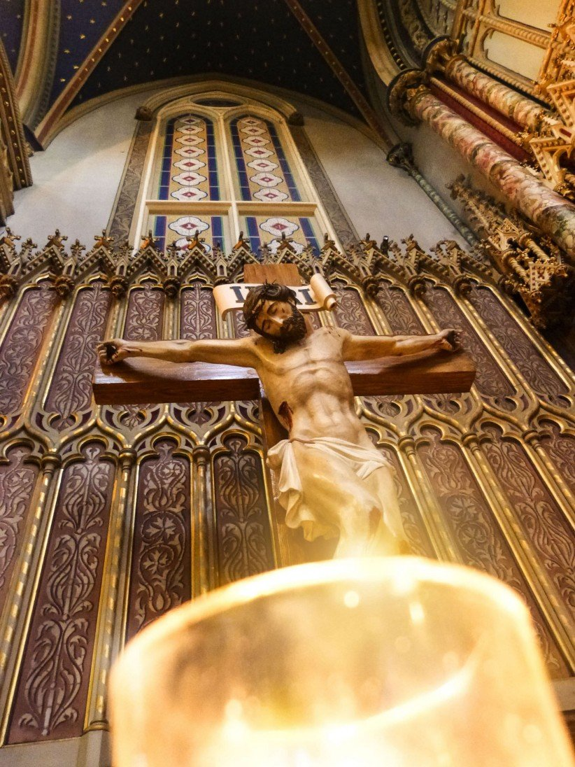 church, cross, christ, cathedral, jesus, altar, crucified