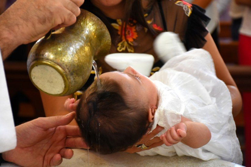 priest, baptism, sacramento, christening, holy water, godmother, childhood, girl