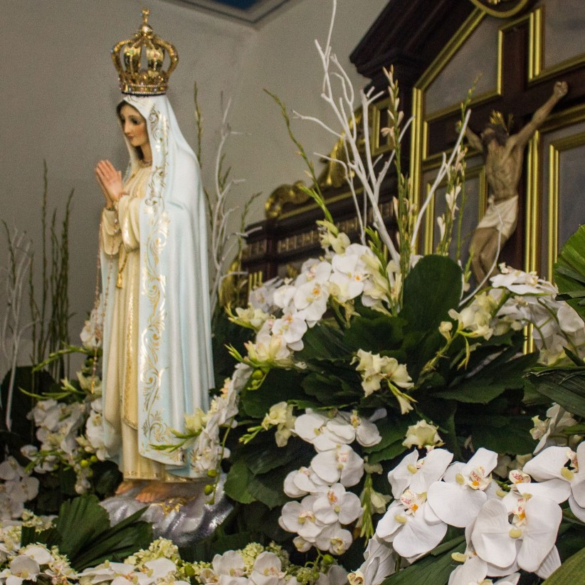 christ, virgin, mother, maria, fatima, flowers, ornaments