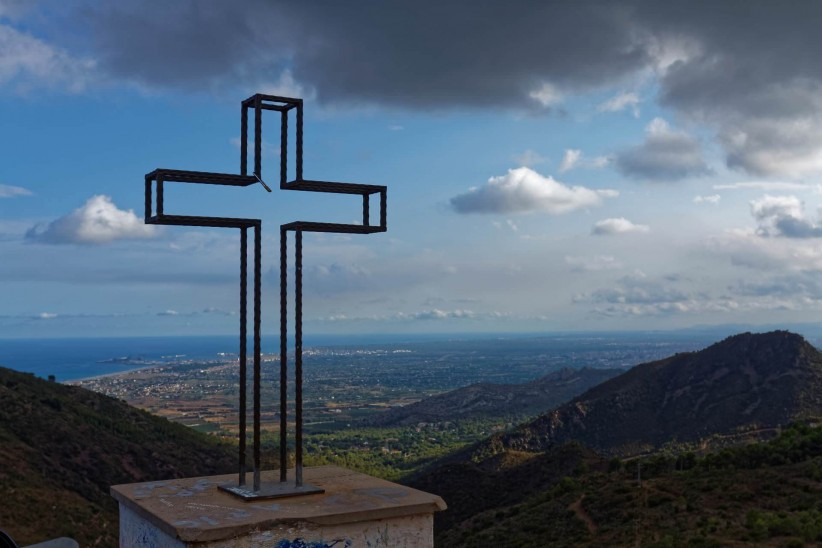 cross, sea, landscape, sky, mountains, clouds,  benicasim,  benicassim