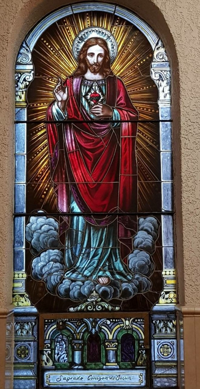 jesus, heart, mexico, sacred, parish, stained glass, purisima, nogales