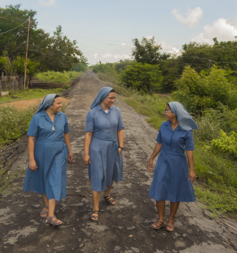 nuns, sisters, path, smiles, happiness