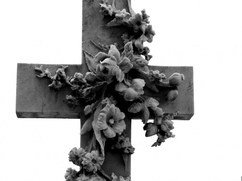 cross, flowers, cemetery