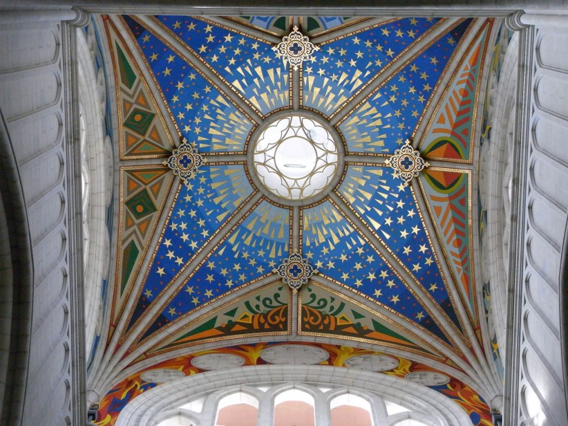 church, cathedral, the ceiling, almudena, madrid, temple, architecture, colors, illuminated, details, catholic architecture
