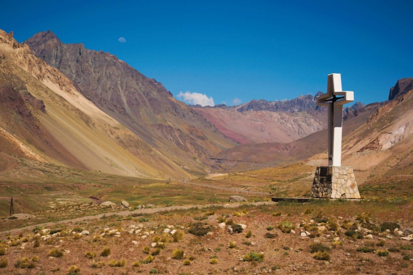 cross, valley, nature, argentina, aconcagua, mendoza, mountain, hill, andes, mountain range, creation, mountains, nature colors