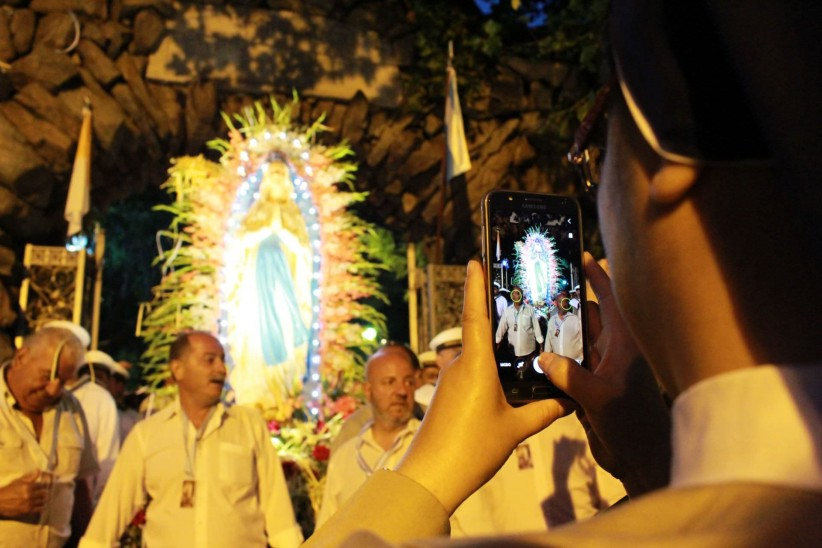 technology, virgin of lourdes, religious