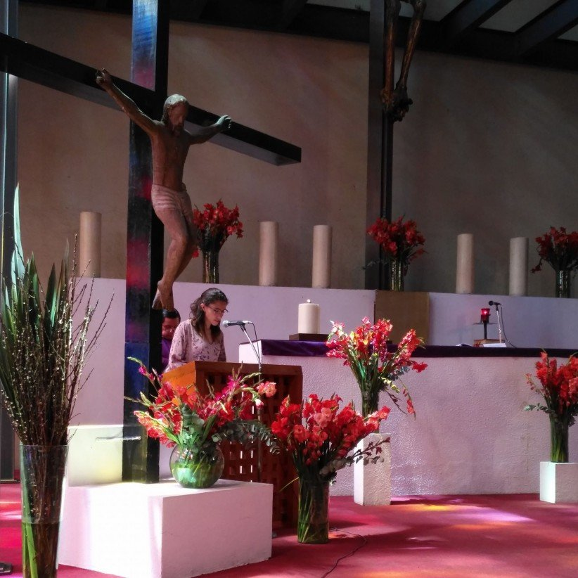 young, crucifix, church, mass, flowers, gospel, reader,  color
