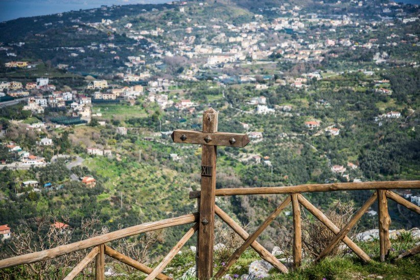 cross, city, mountain, panorama