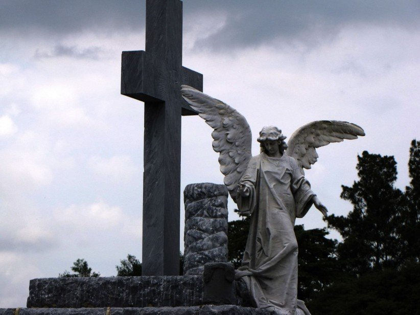 cross, angel, cemetery, art