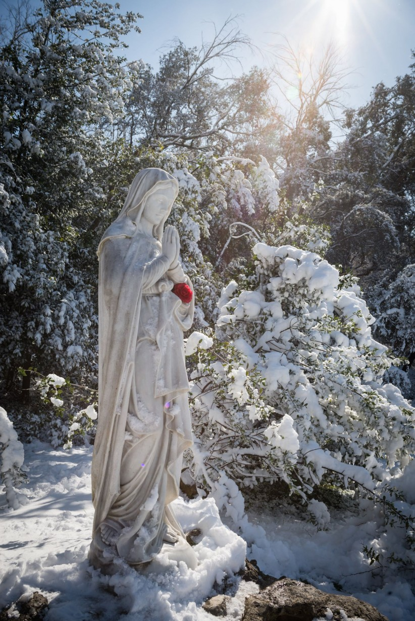 light, rosary beads, virgin, maria, christmas, flower, rock, snow