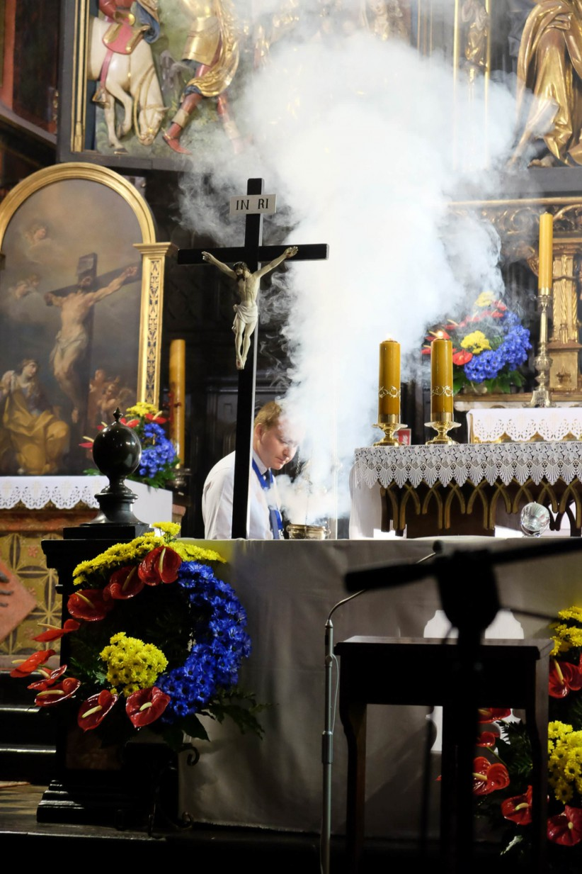 christ, jmj, incense,  , worship, cracovia, church of the franciscans