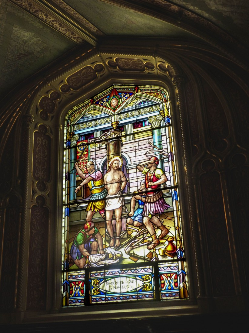 church, cathedral, jesus, stained glass, flagellation, soldiers