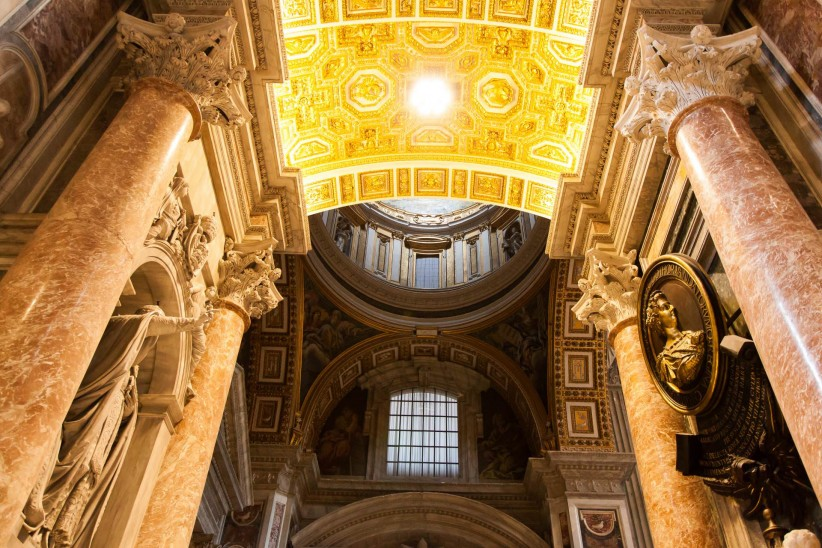 light, church, san pedro, vatican, temple, italy, rome, art, sacred art, beauty, columns, interior, detail, marble, basilica of saint peter, structure, loveliness, catholic art, sculptures, ecclesial building, interior of the basilica