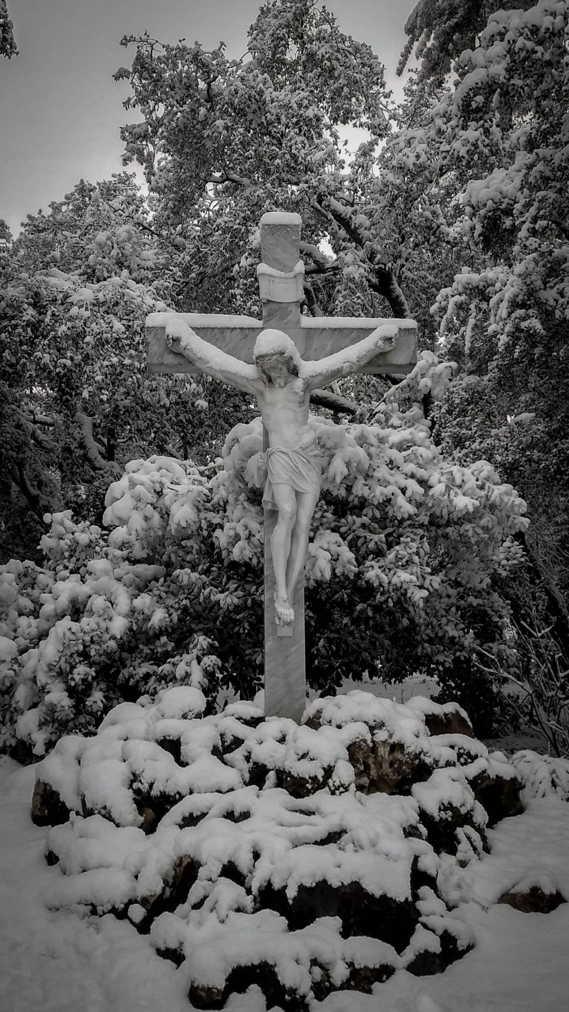 cross, christ, snow