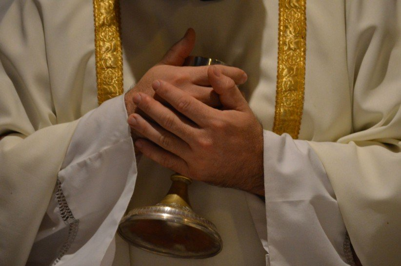 eucharist, christ, hands, love, chalice, priest, consecration, peace
