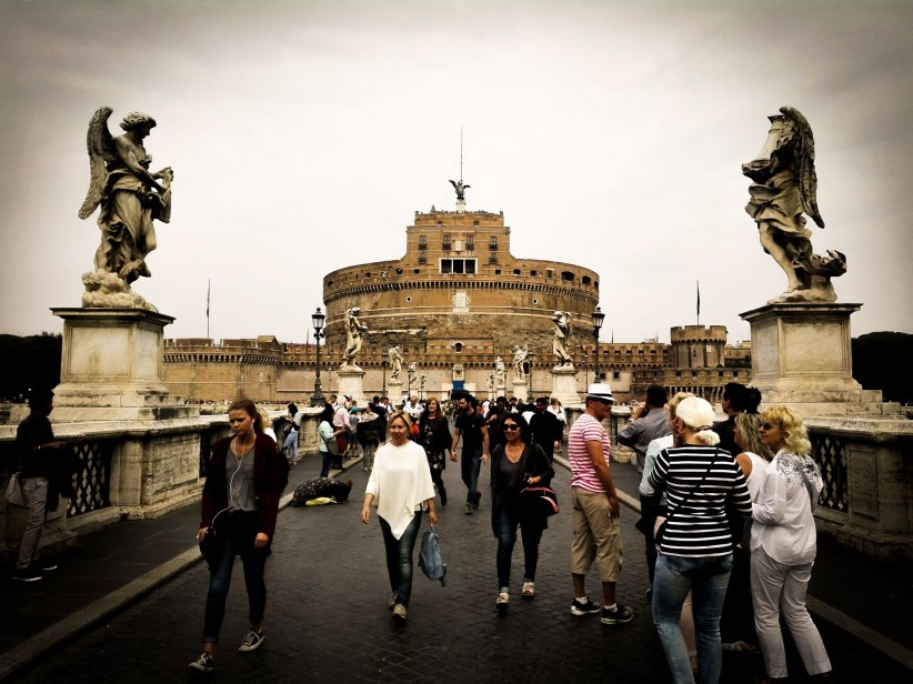 rome, passion, bridge, angeles, city, people, archangel, castle