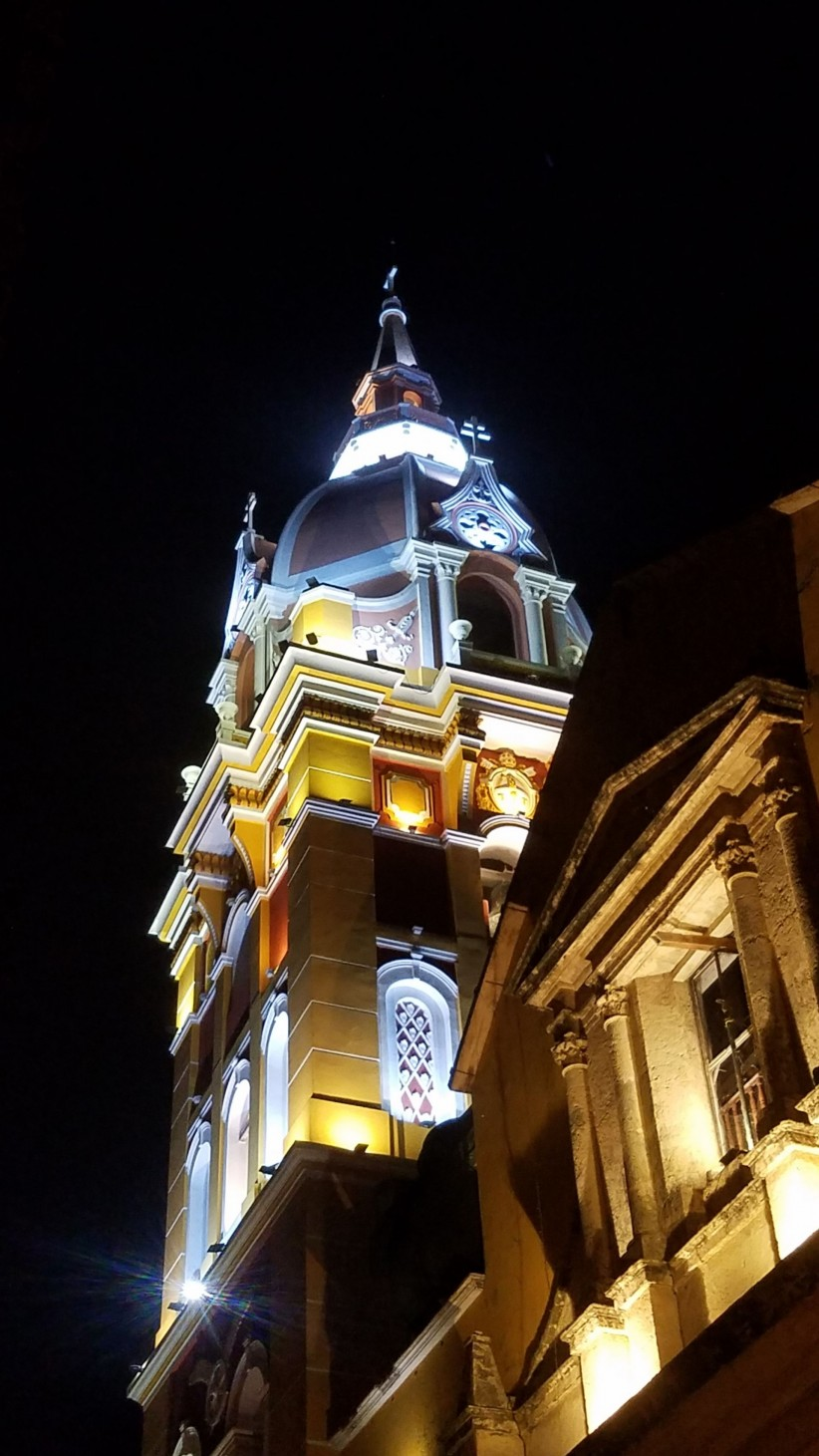 cathedral, basilica, bell tower, temple, colombia, cartagena, indian