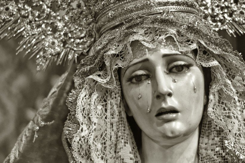 virgin, maria, crown, lent, painful, tears