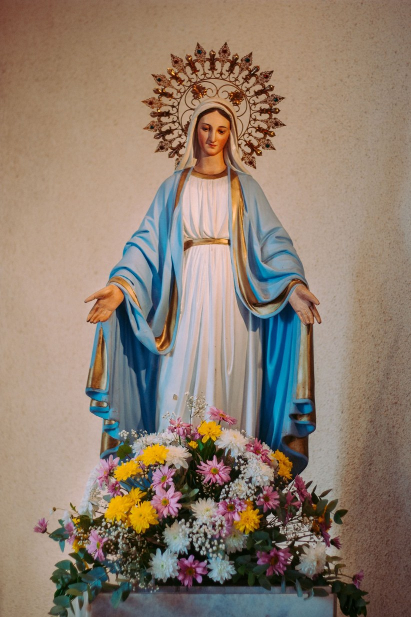 church, virgin, mother, maria, flowers, temple, chapel, look
