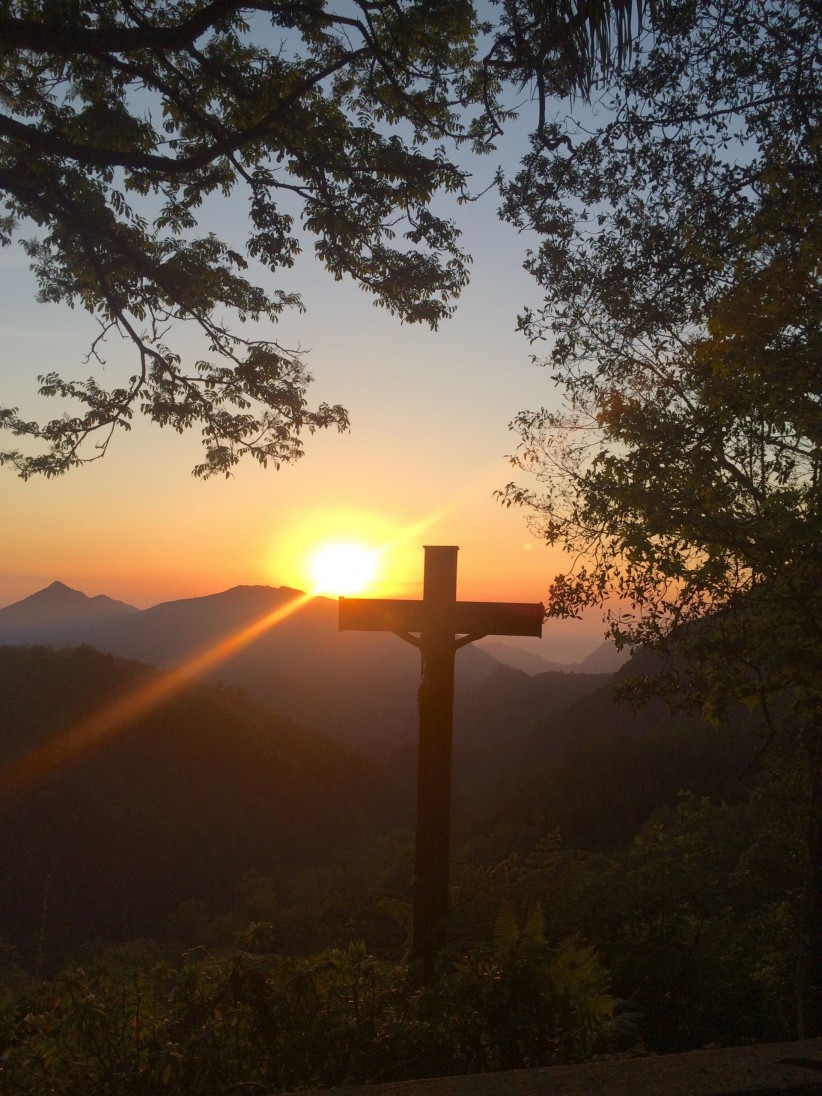 cross, jesus, nature, sun, mountains, dawn