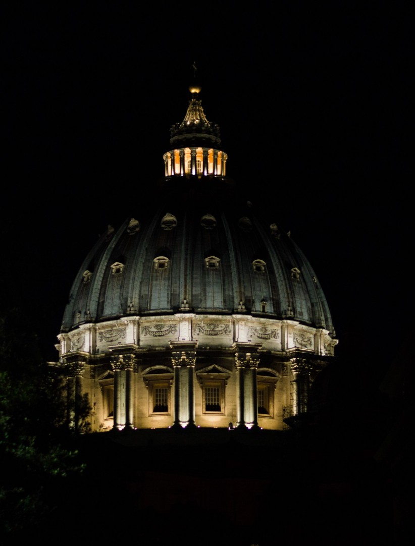 night, dome, san, peter, vatican, sanpedro, rome, italy, pope, church, cathedral, basilica